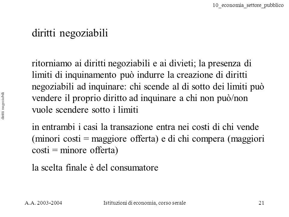 10_economia_settore_pubblico A.A. 2003-2004Istituzioni di economia, corso serale21 ritorniamo ai diritti negoziabili e ai divieti; la presenza di limi