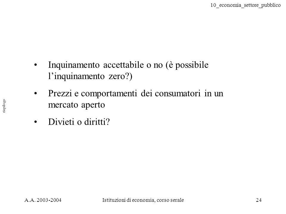 10_economia_settore_pubblico A.A. 2003-2004Istituzioni di economia, corso serale24 Inquinamento accettabile o no (è possibile linquinamento zero?) Pre