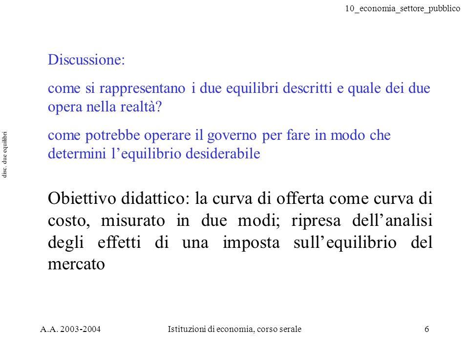 10_economia_settore_pubblico A.A. 2003-2004Istituzioni di economia, corso serale6 Discussione: come si rappresentano i due equilibri descritti e quale