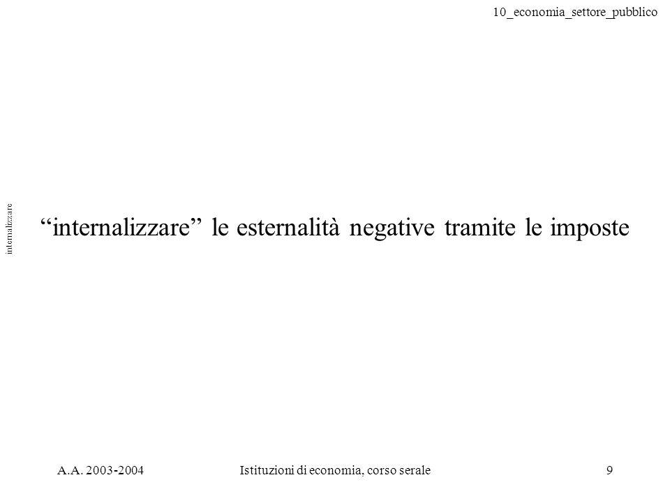 10_economia_settore_pubblico A.A. 2003-2004Istituzioni di economia, corso serale9 internalizzare le esternalità negative tramite le imposte internaliz