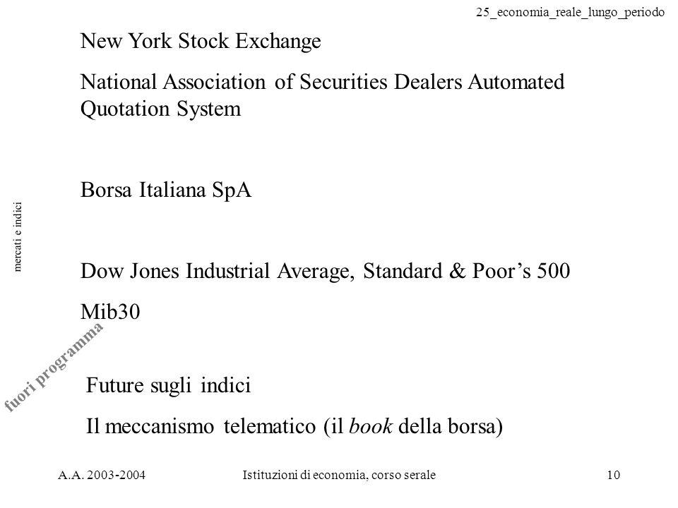 25_economia_reale_lungo_periodo A.A. 2003-2004Istituzioni di economia, corso serale10 mercati e indici New York Stock Exchange National Association of