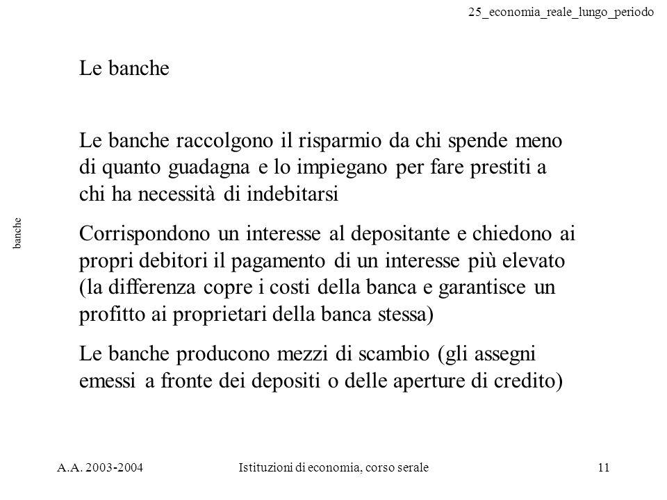 25_economia_reale_lungo_periodo A.A. 2003-2004Istituzioni di economia, corso serale11 banche Le banche Le banche raccolgono il risparmio da chi spende
