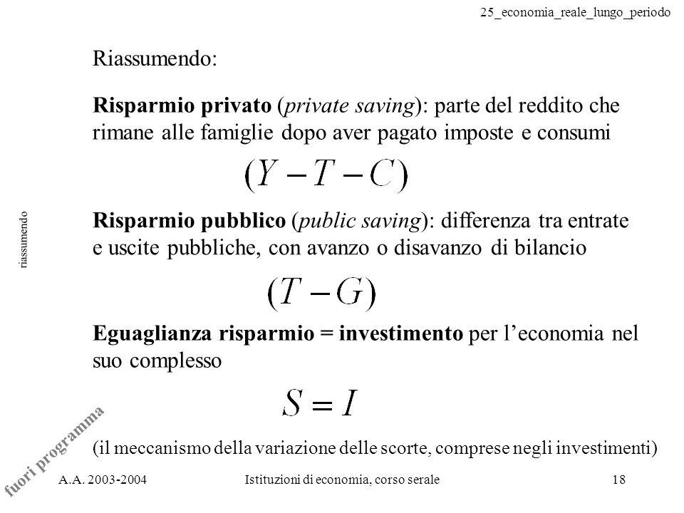 25_economia_reale_lungo_periodo A.A. 2003-2004Istituzioni di economia, corso serale18 riassumendo Riassumendo: Risparmio privato (private saving): par