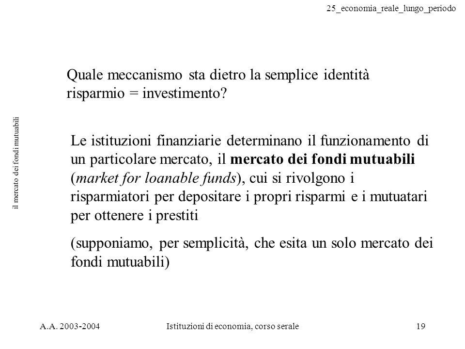 25_economia_reale_lungo_periodo A.A. 2003-2004Istituzioni di economia, corso serale19 il mercato dei fondi mutuabili Quale meccanismo sta dietro la se