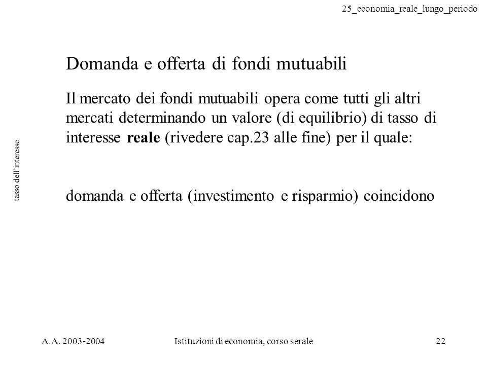 25_economia_reale_lungo_periodo A.A. 2003-2004Istituzioni di economia, corso serale22 tasso dellinteresse Domanda e offerta di fondi mutuabili Il merc