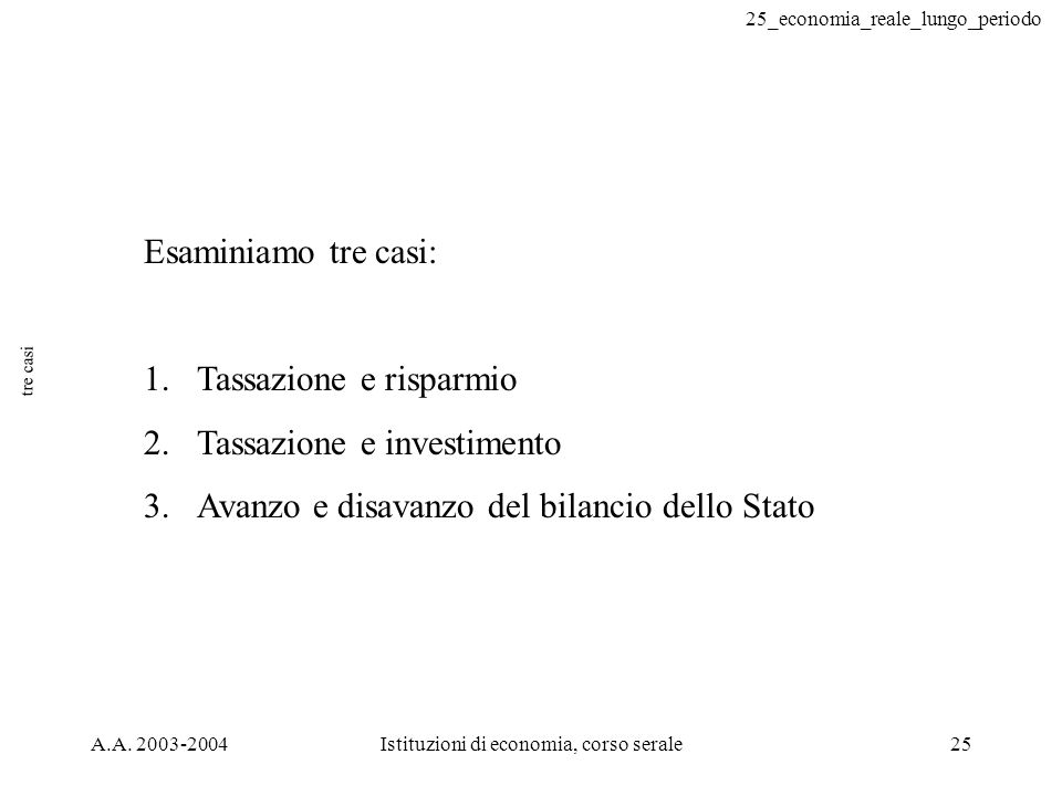 25_economia_reale_lungo_periodo A.A. 2003-2004Istituzioni di economia, corso serale25 tre casi Esaminiamo tre casi: 1.Tassazione e risparmio 2.Tassazi