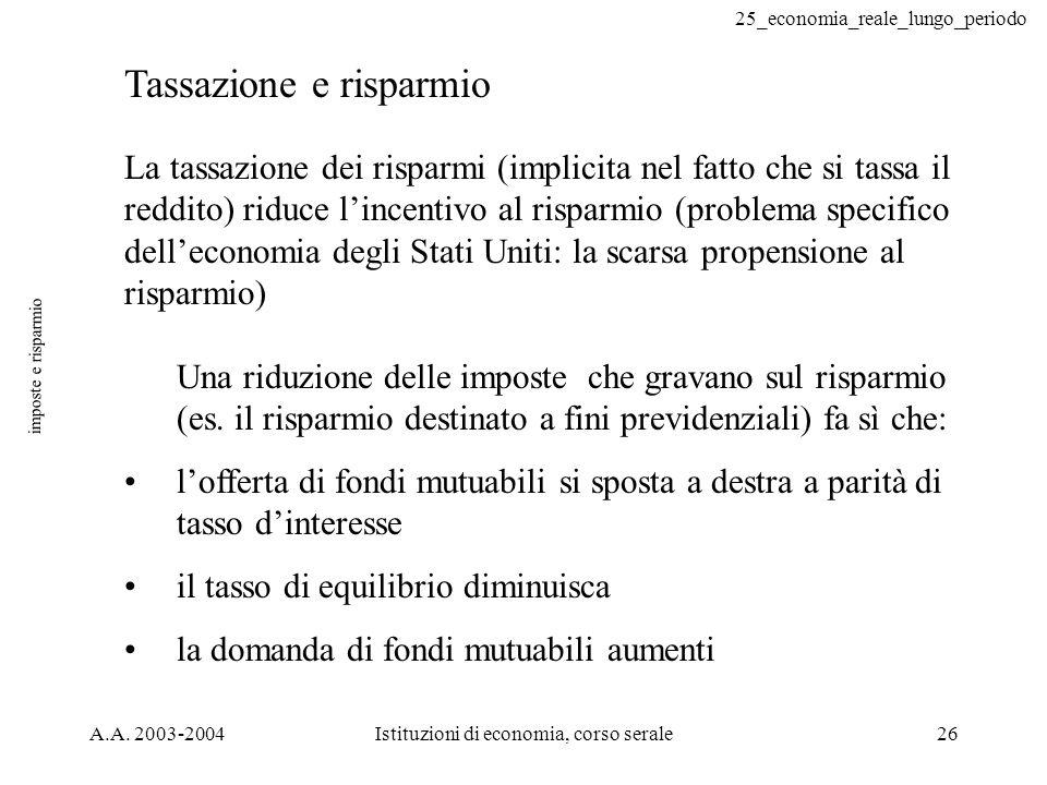 25_economia_reale_lungo_periodo A.A. 2003-2004Istituzioni di economia, corso serale26 imposte e risparmio Tassazione e risparmio La tassazione dei ris