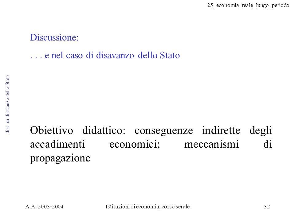 25_economia_reale_lungo_periodo A.A. 2003-2004Istituzioni di economia, corso serale32 disc. su disavanzo dello Stato Discussione:... e nel caso di dis