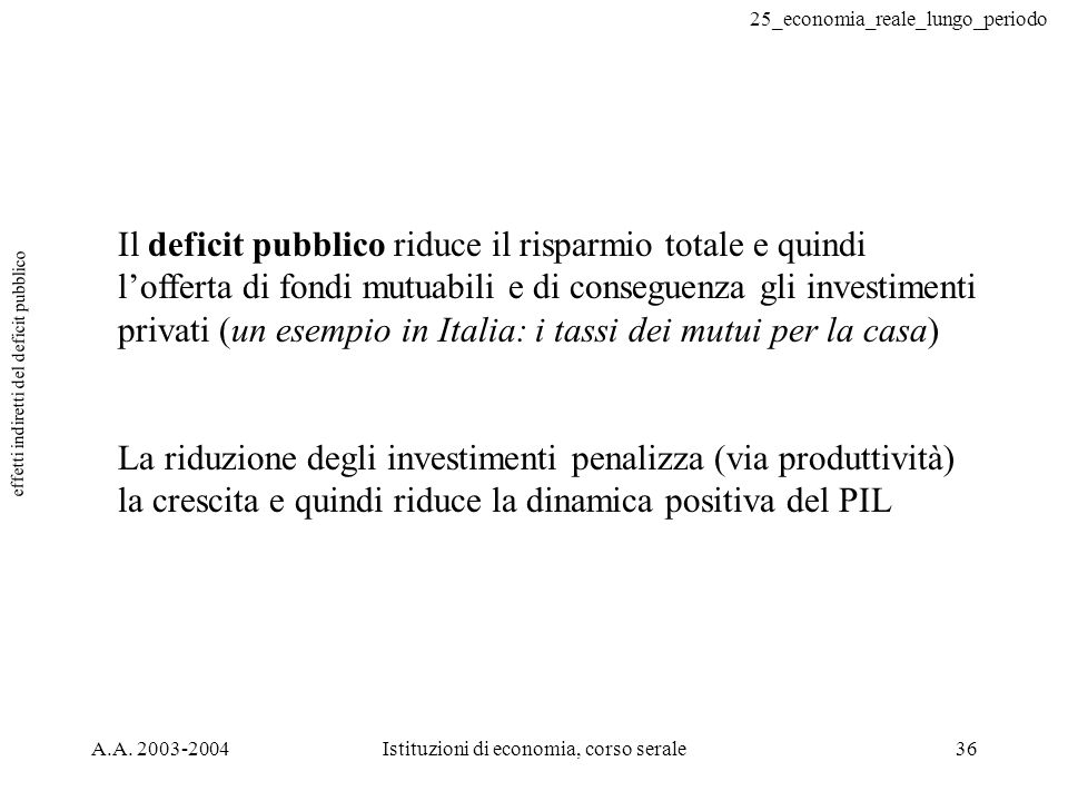 25_economia_reale_lungo_periodo A.A. 2003-2004Istituzioni di economia, corso serale36 effetti indiretti del deficit pubblico Il deficit pubblico riduc