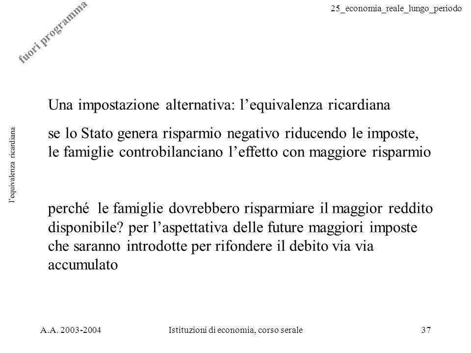 25_economia_reale_lungo_periodo A.A. 2003-2004Istituzioni di economia, corso serale37 lequivalenza ricardiana Una impostazione alternativa: lequivalen