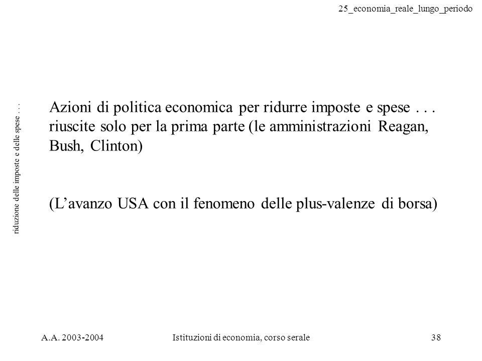 25_economia_reale_lungo_periodo A.A. 2003-2004Istituzioni di economia, corso serale38 riduzione delle imposte e delle spese... Azioni di politica econ