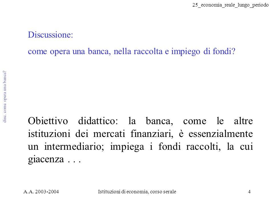 25_economia_reale_lungo_periodo A.A. 2003-2004Istituzioni di economia, corso serale4 disc. come opera una banca? Discussione: come opera una banca, ne