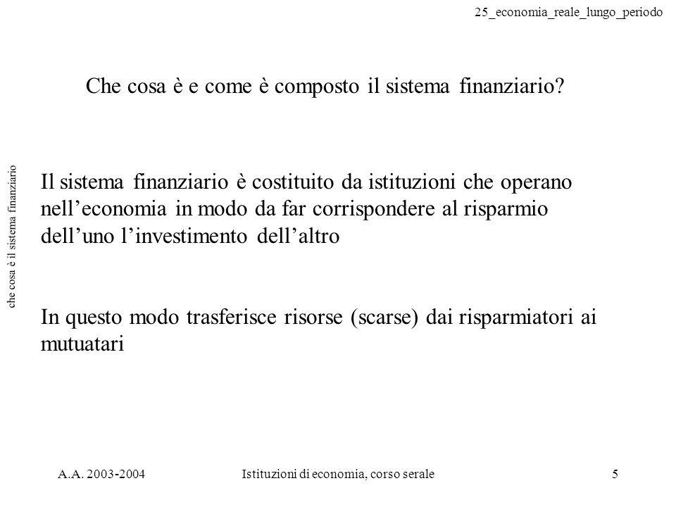 25_economia_reale_lungo_periodo A.A. 2003-2004Istituzioni di economia, corso serale5 che cosa è il sistema finanziario Che cosa è e come è composto il