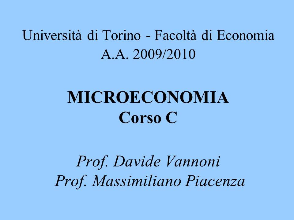 Università di Torino - Facoltà di Economia A.A. 2009/2010 MICROECONOMIA Corso C Prof. Davide Vannoni Prof. Massimiliano Piacenza