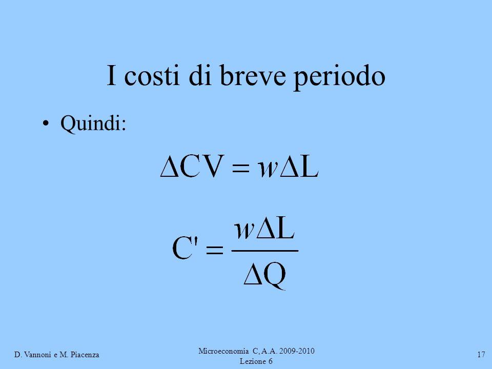D. Vannoni e M. Piacenza Microeconomia C, A.A. 2009-2010 Lezione 6 17 I costi di breve periodo Quindi: