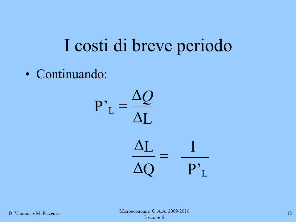 D. Vannoni e M. Piacenza Microeconomia C, A.A. 2009-2010 Lezione 6 18 I costi di breve periodo Continuando: L P L Q L P 1 Q L