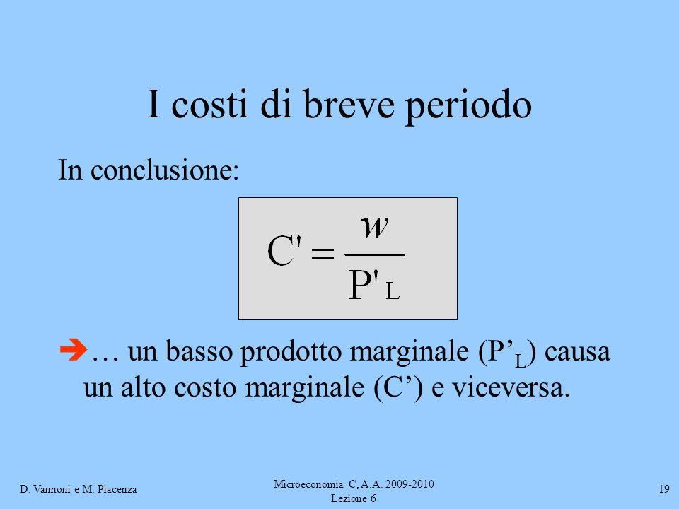 D. Vannoni e M. Piacenza Microeconomia C, A.A. 2009-2010 Lezione 6 19 I costi di breve periodo In conclusione: … un basso prodotto marginale (P L ) ca
