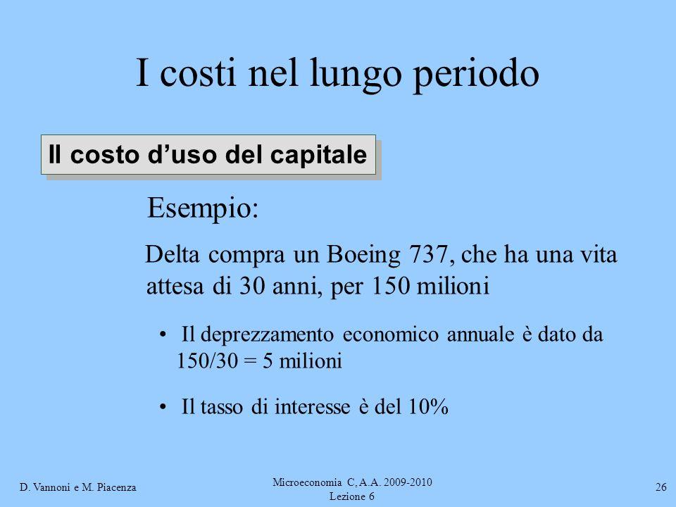 D. Vannoni e M. Piacenza Microeconomia C, A.A. 2009-2010 Lezione 6 26 I costi nel lungo periodo Esempio: Delta compra un Boeing 737, che ha una vita a