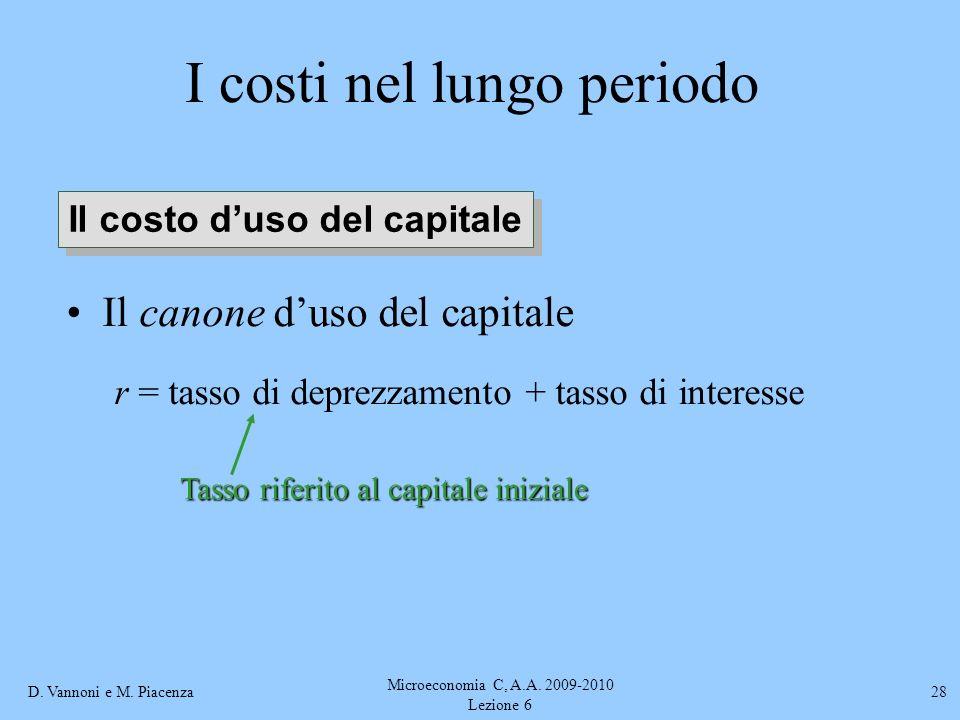 D. Vannoni e M. Piacenza Microeconomia C, A.A. 2009-2010 Lezione 6 28 I costi nel lungo periodo Il canone duso del capitale r = tasso di deprezzamento