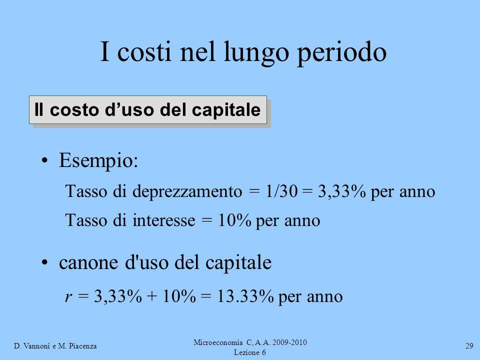 D. Vannoni e M. Piacenza Microeconomia C, A.A. 2009-2010 Lezione 6 29 I costi nel lungo periodo Esempio: Tasso di deprezzamento = 1/30 = 3,33% per ann