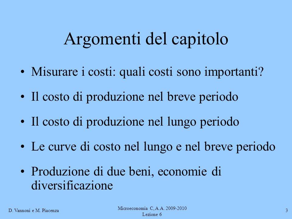D. Vannoni e M. Piacenza Microeconomia C, A.A. 2009-2010 Lezione 6 3 Argomenti del capitolo Misurare i costi: quali costi sono importanti? Il costo di