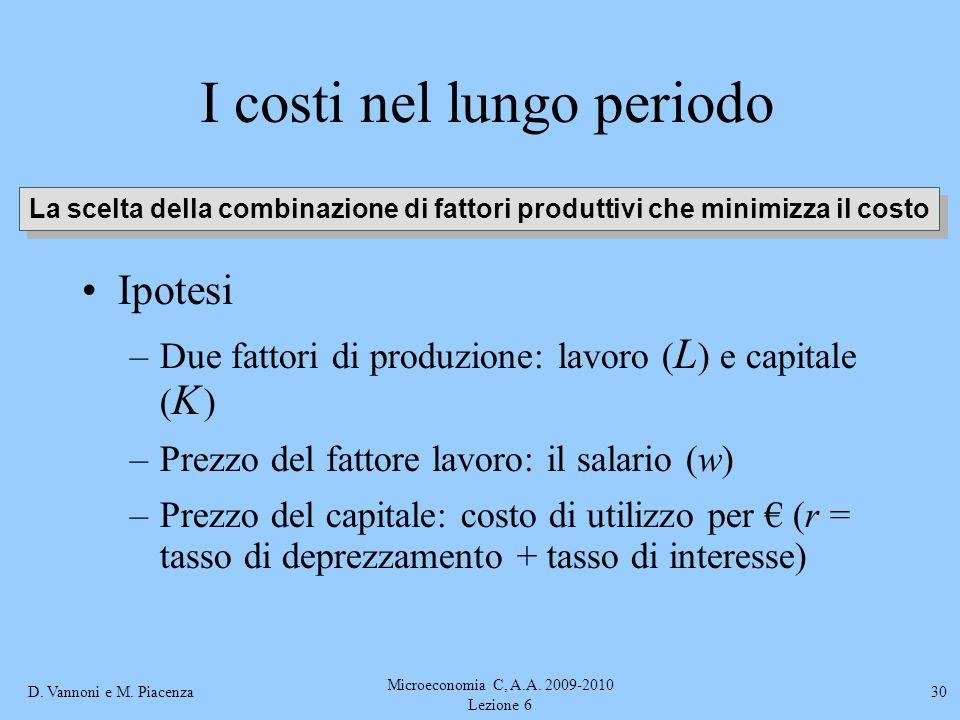 D. Vannoni e M. Piacenza Microeconomia C, A.A. 2009-2010 Lezione 6 30 I costi nel lungo periodo Ipotesi –Due fattori di produzione: lavoro ( L ) e cap