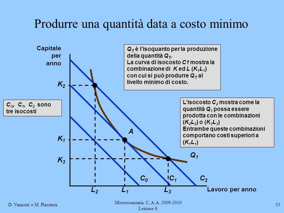 D. Vannoni e M. Piacenza Microeconomia C, A.A. 2009-2010 Lezione 6 33 Produrre una quantità data a costo minimo Lavoro per anno Capitale per anno Liso