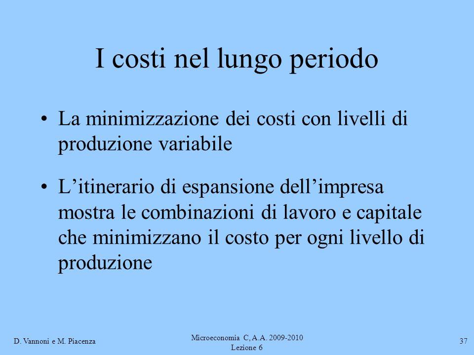 D. Vannoni e M. Piacenza Microeconomia C, A.A. 2009-2010 Lezione 6 37 La minimizzazione dei costi con livelli di produzione variabile Litinerario di e