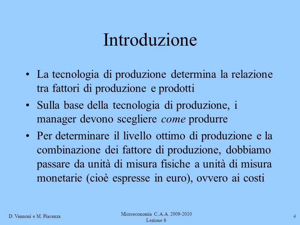D. Vannoni e M. Piacenza Microeconomia C, A.A. 2009-2010 Lezione 6 4 Introduzione La tecnologia di produzione determina la relazione tra fattori di pr
