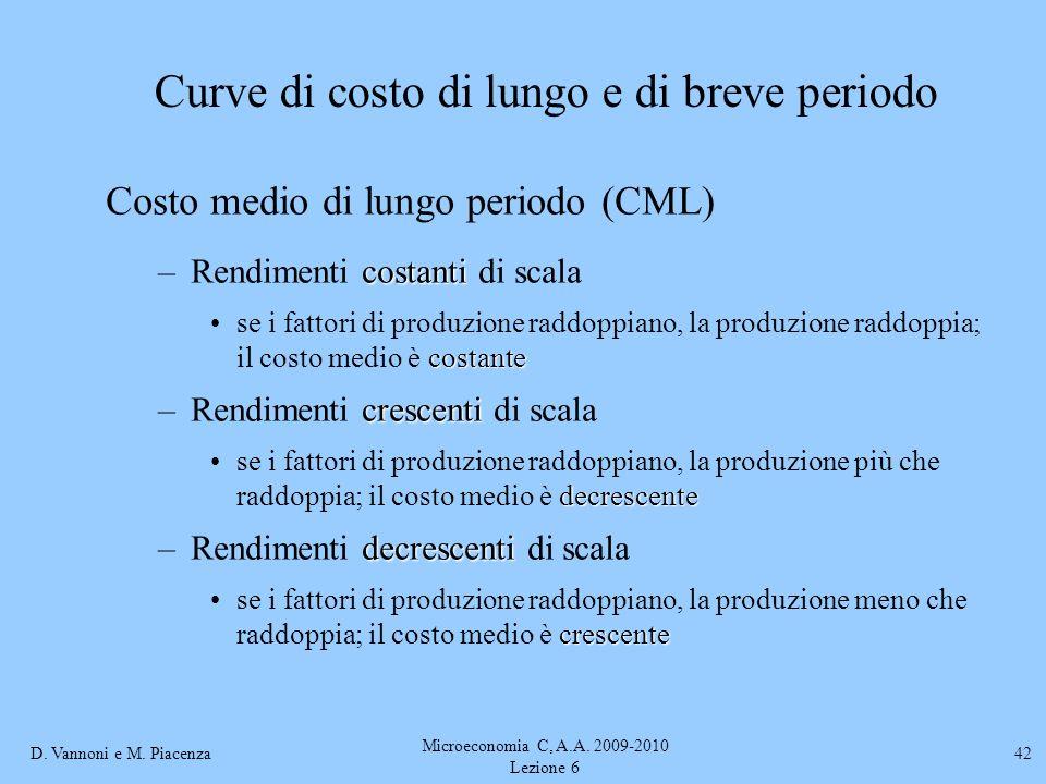 D. Vannoni e M. Piacenza Microeconomia C, A.A. 2009-2010 Lezione 6 42 Costo medio di lungo periodo (CML) costanti –Rendimenti costanti di scala costan