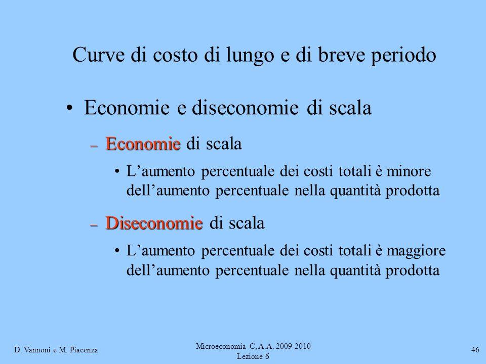 D. Vannoni e M. Piacenza Microeconomia C, A.A. 2009-2010 Lezione 6 46 Economie e diseconomie di scala – Economie – Economie di scala Laumento percentu