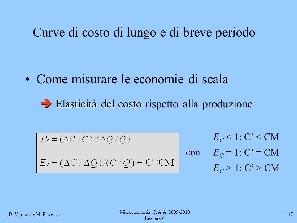 D. Vannoni e M. Piacenza Microeconomia C, A.A. 2009-2010 Lezione 6 47 Come misurare le economie di scala Elasticità del costo Elasticità del costo ris