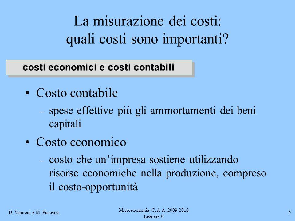 D. Vannoni e M. Piacenza Microeconomia C, A.A. 2009-2010 Lezione 6 5 La misurazione dei costi: quali costi sono importanti? Costo contabile – spese ef