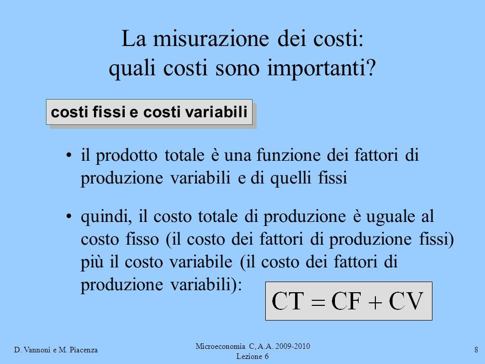D. Vannoni e M. Piacenza Microeconomia C, A.A. 2009-2010 Lezione 6 8 La misurazione dei costi: quali costi sono importanti? il prodotto totale è una f
