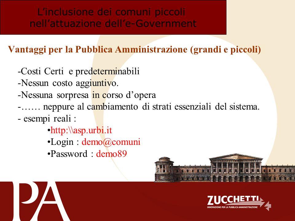 Linclusione dei comuni piccoli nellattuazione delle-Government Vantaggi per la Pubblica Amministrazione (grandi e piccoli) -Costi Certi e predetermina