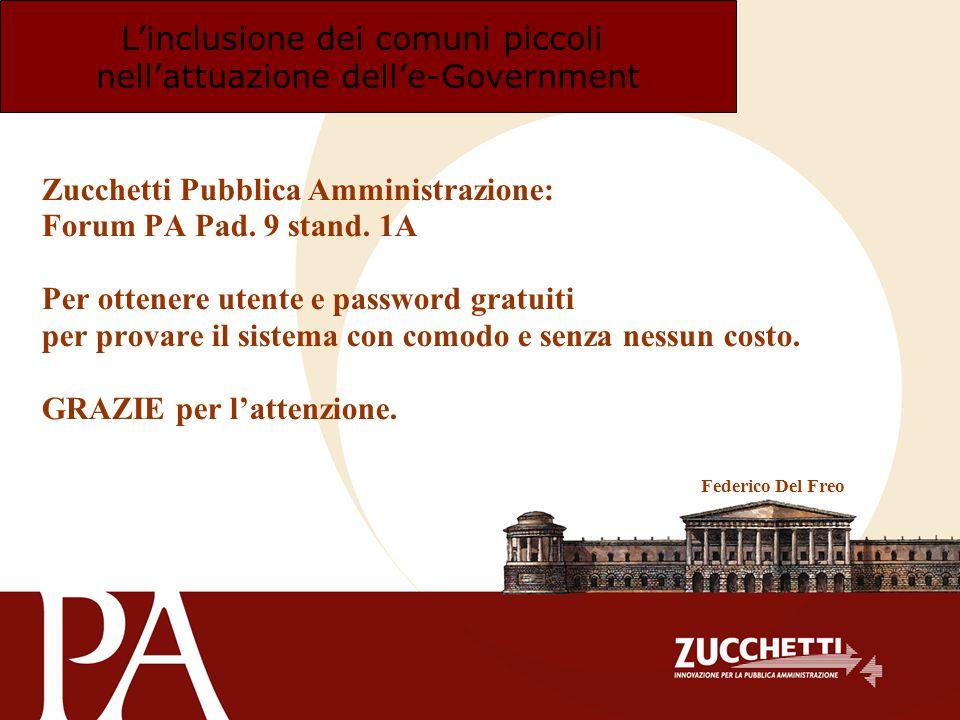 Linclusione dei comuni piccoli nellattuazione delle-Government Zucchetti Pubblica Amministrazione: Forum PA Pad. 9 stand. 1A Per ottenere utente e pas