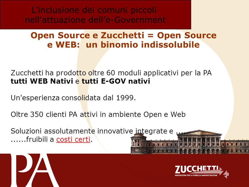 Linclusione dei comuni piccoli nellattuazione delle-Government Open Source e Zucchetti = Open Source e WEB: un binomio indissolubile Zucchetti ha prod