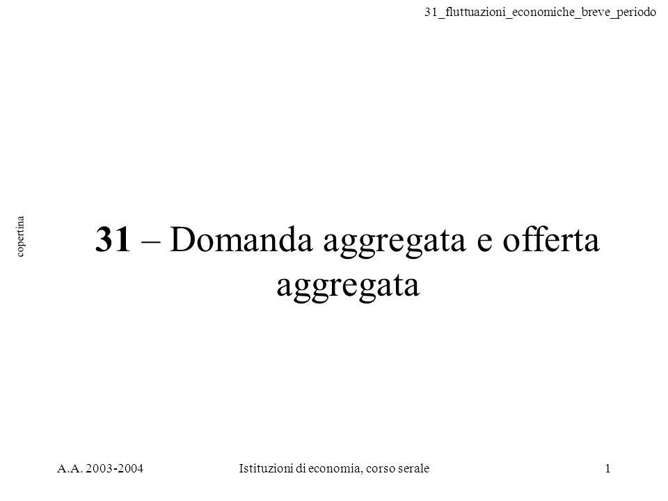 31_fluttuazioni_economiche_breve_periodo 52 diminuzione della domanda aggregata 3 Diminuzione della domanda aggregata 0 A B P1P1 P2P2 Y1Y1 Y2Y2 AD 2 2.