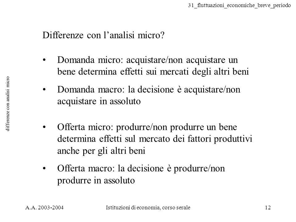 31_fluttuazioni_economiche_breve_periodo A.A. 2003-2004Istituzioni di economia, corso serale12 differenze con analisi micro Differenze con lanalisi mi