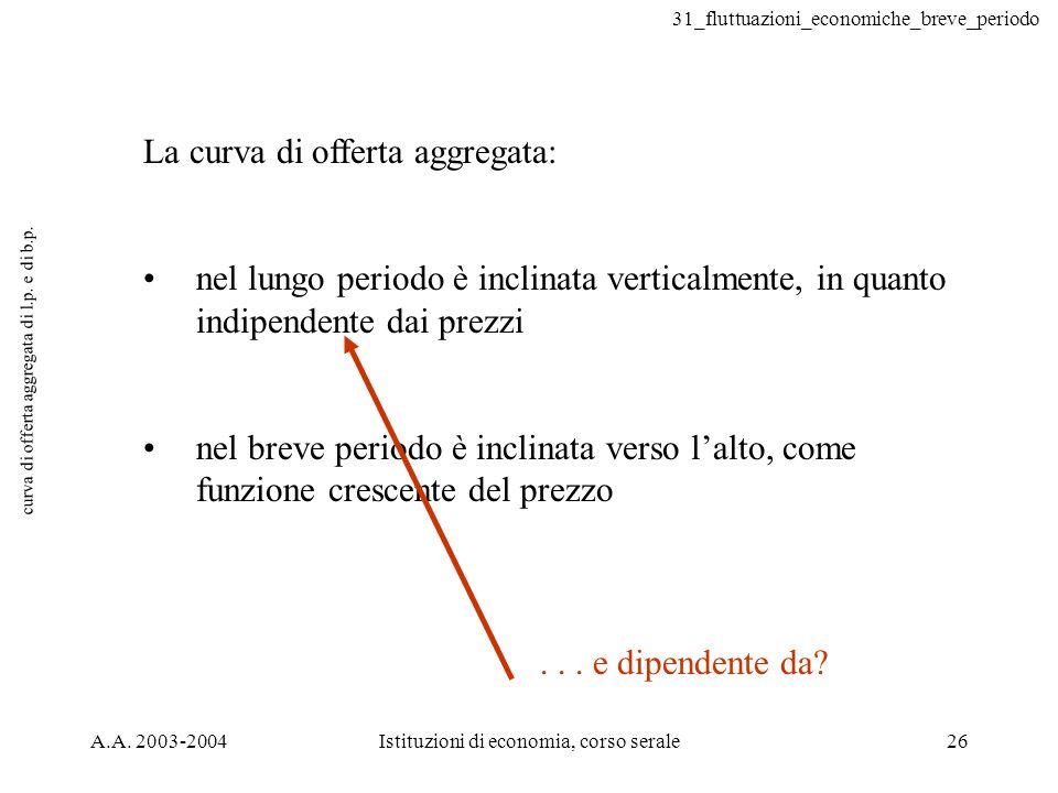 31_fluttuazioni_economiche_breve_periodo A.A. 2003-2004Istituzioni di economia, corso serale26 curva di offerta aggregata di l.p. e di b.p. La curva d