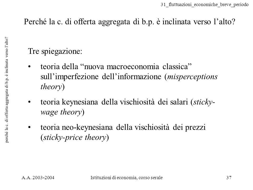 31_fluttuazioni_economiche_breve_periodo A.A. 2003-2004Istituzioni di economia, corso serale37 perché la c. di offerta aggregata di b.p. è inclinata v