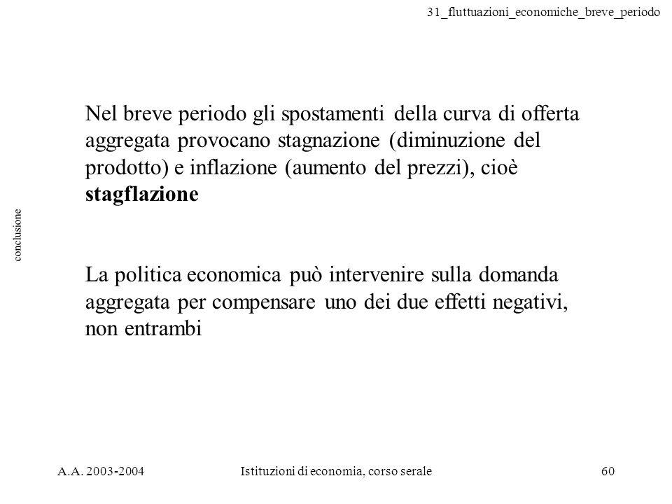 31_fluttuazioni_economiche_breve_periodo A.A. 2003-2004Istituzioni di economia, corso serale60 conclusione Nel breve periodo gli spostamenti della cur