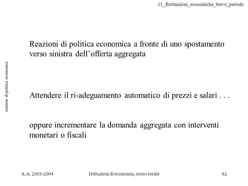 31_fluttuazioni_economiche_breve_periodo A.A. 2003-2004Istituzioni di economia, corso serale62 reazioni di politica economica Reazioni di politica eco