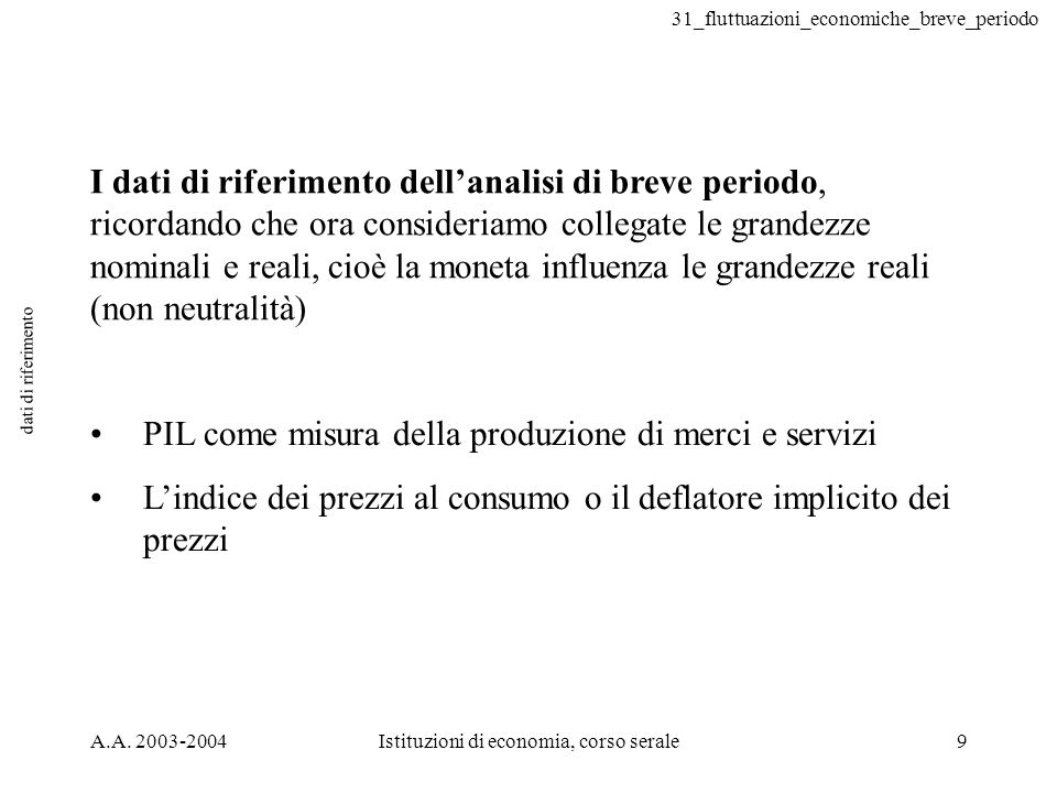 31_fluttuazioni_economiche_breve_periodo A.A. 2003-2004Istituzioni di economia, corso serale9 dati di riferimento I dati di riferimento dellanalisi di