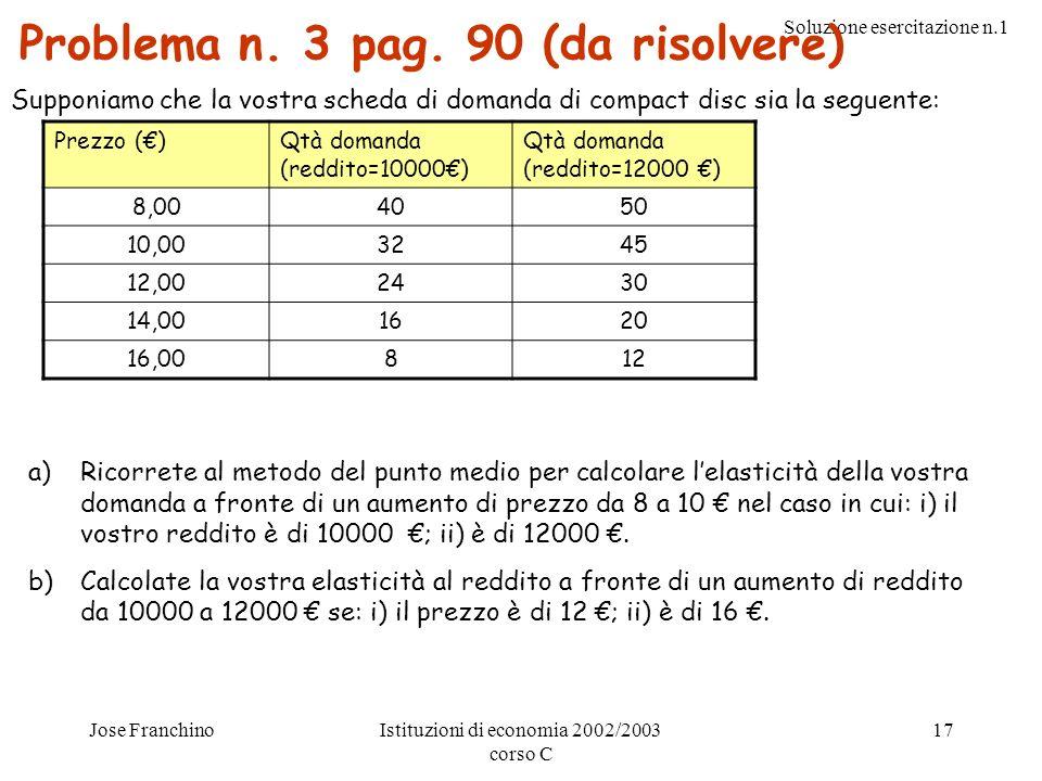 Soluzione esercitazione n.1 Jose FranchinoIstituzioni di economia 2002/2003 corso C 17 Problema n. 3 pag. 90 (da risolvere) Supponiamo che la vostra s