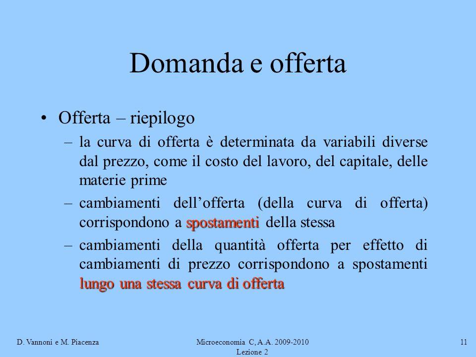 D. Vannoni e M. PiacenzaMicroeconomia C, A.A. 2009-2010 Lezione 2 11 Domanda e offerta Offerta – riepilogo –la curva di offerta è determinata da varia