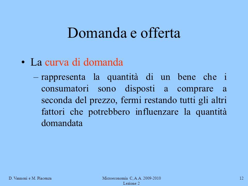 D. Vannoni e M. PiacenzaMicroeconomia C, A.A. 2009-2010 Lezione 2 12 Domanda e offerta La curva di domanda –rappresenta la quantità di un bene che i c