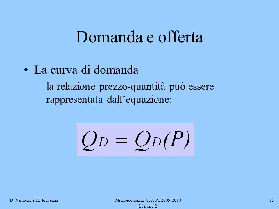 D. Vannoni e M. PiacenzaMicroeconomia C, A.A. 2009-2010 Lezione 2 13 Domanda e offerta La curva di domanda –la relazione prezzo-quantità può essere ra