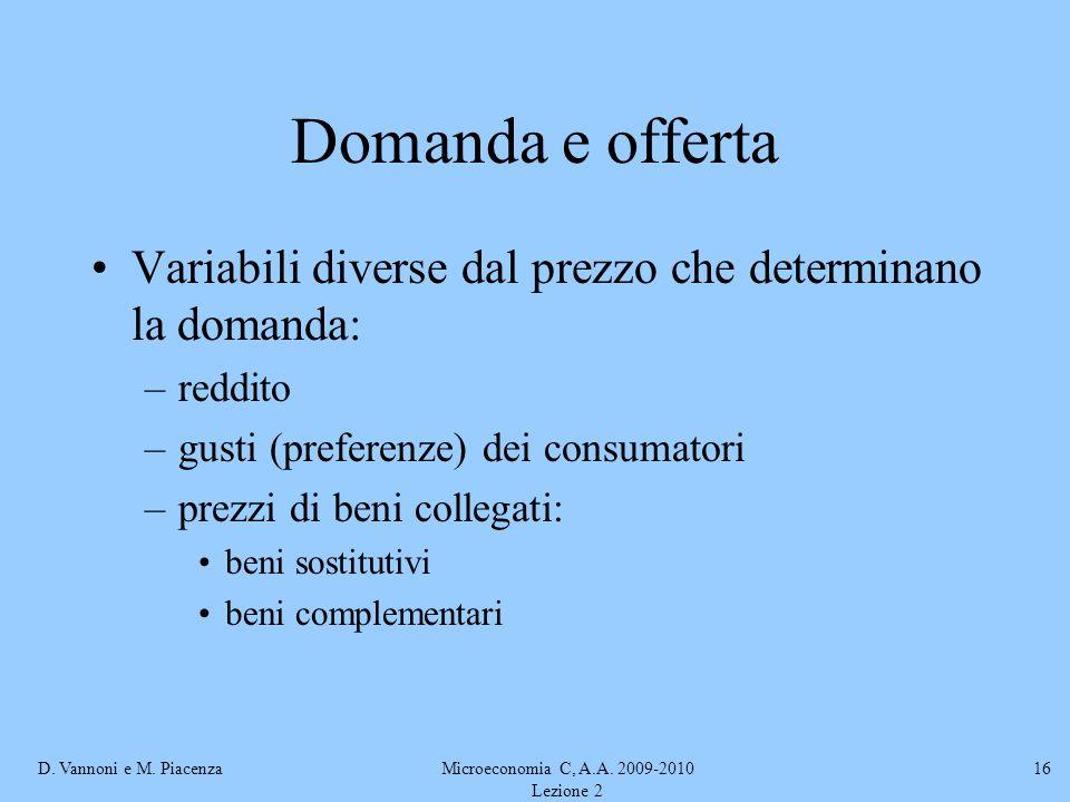 D. Vannoni e M. PiacenzaMicroeconomia C, A.A. 2009-2010 Lezione 2 16 Domanda e offerta Variabili diverse dal prezzo che determinano la domanda: –reddi