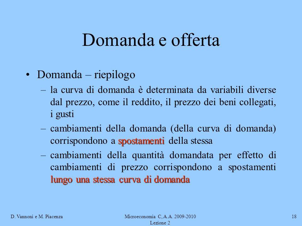 D. Vannoni e M. PiacenzaMicroeconomia C, A.A. 2009-2010 Lezione 2 18 Domanda e offerta Domanda – riepilogo –la curva di domanda è determinata da varia